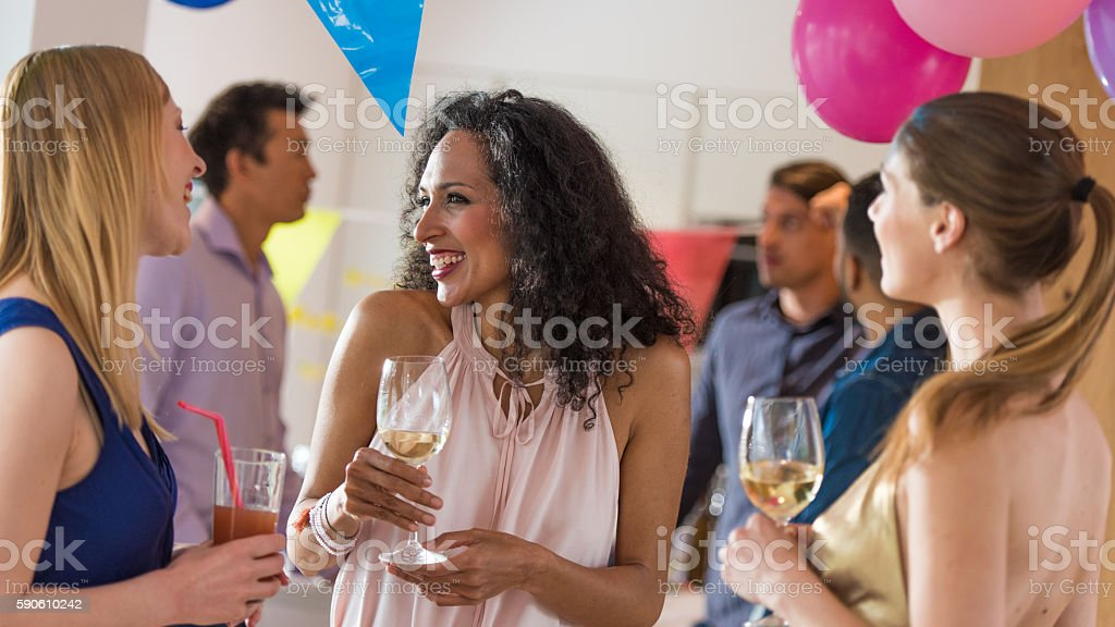 Friends enjoying drinks stock photo