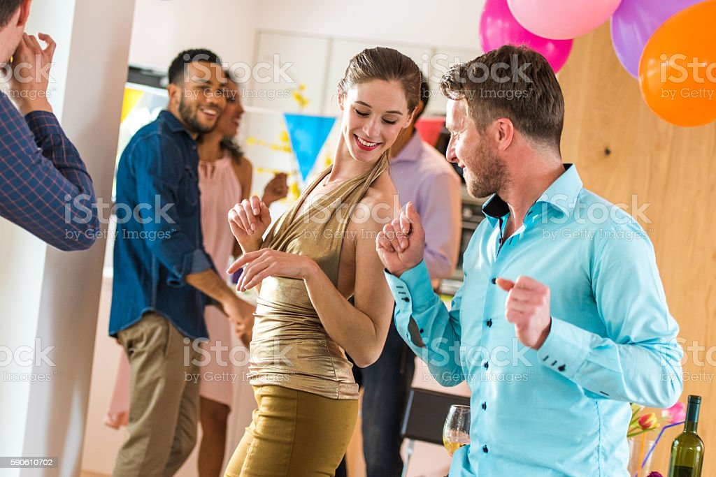 Friends enjoying in party stock photo