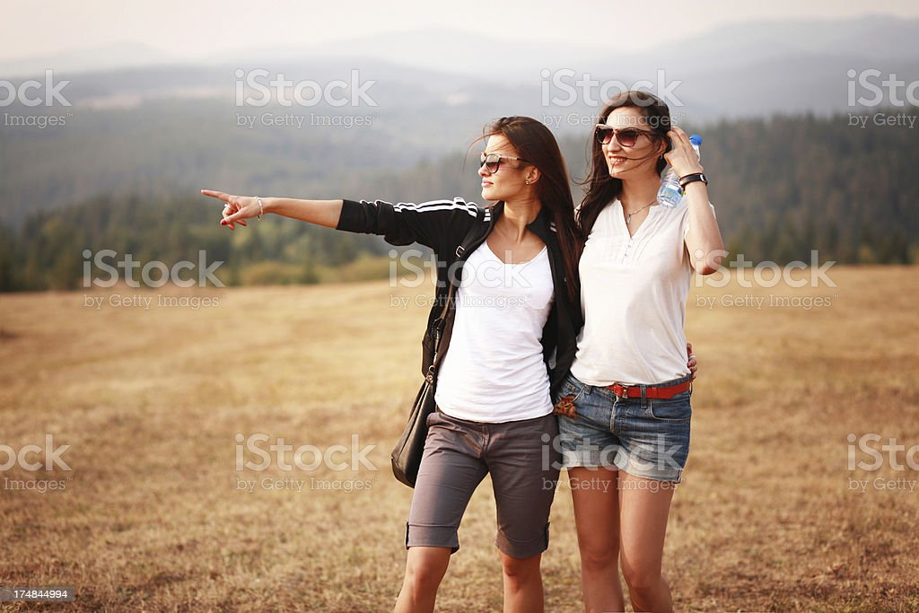 Friends enjoying the nature royalty-free stock photo