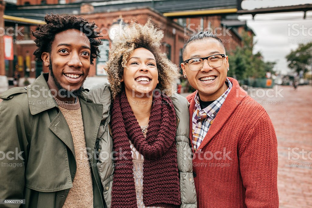 Friends enjoying the walk together stock photo