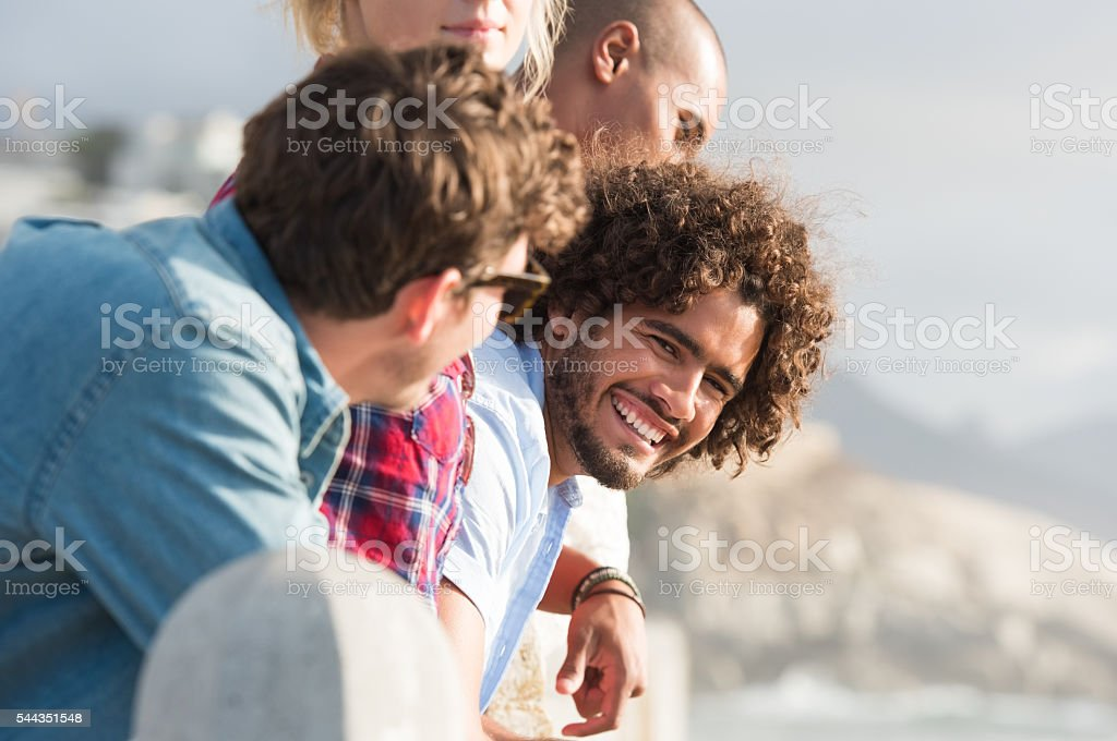 Friends enjoying vacation stock photo