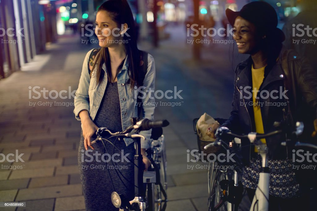 Friends exploring the city together stock photo
