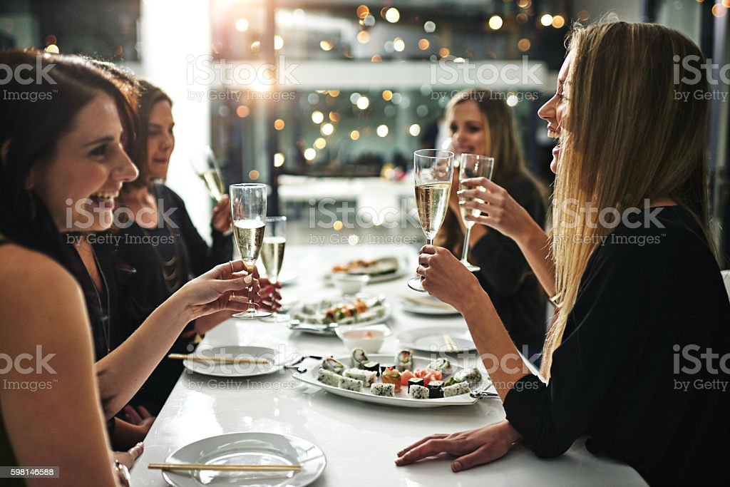 Friends, food and fun stock photo