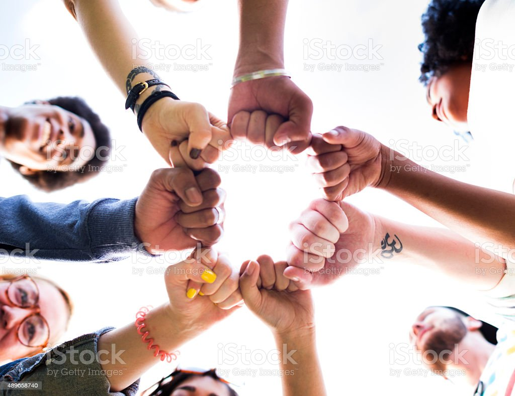 Friends Friendship Fist Bump Togetherness Concept stock photo