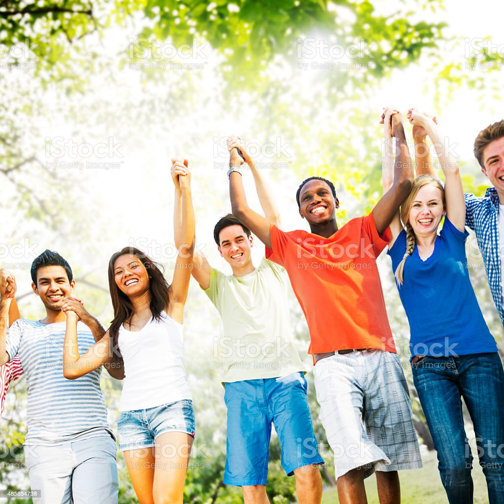 Friends Friendship Happiness Success Amity Concept stock photo