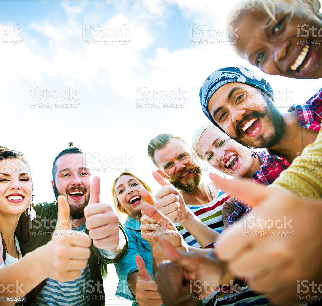 Friends Friendship Like Thumbs up Togetherness Fun Concept stock photo