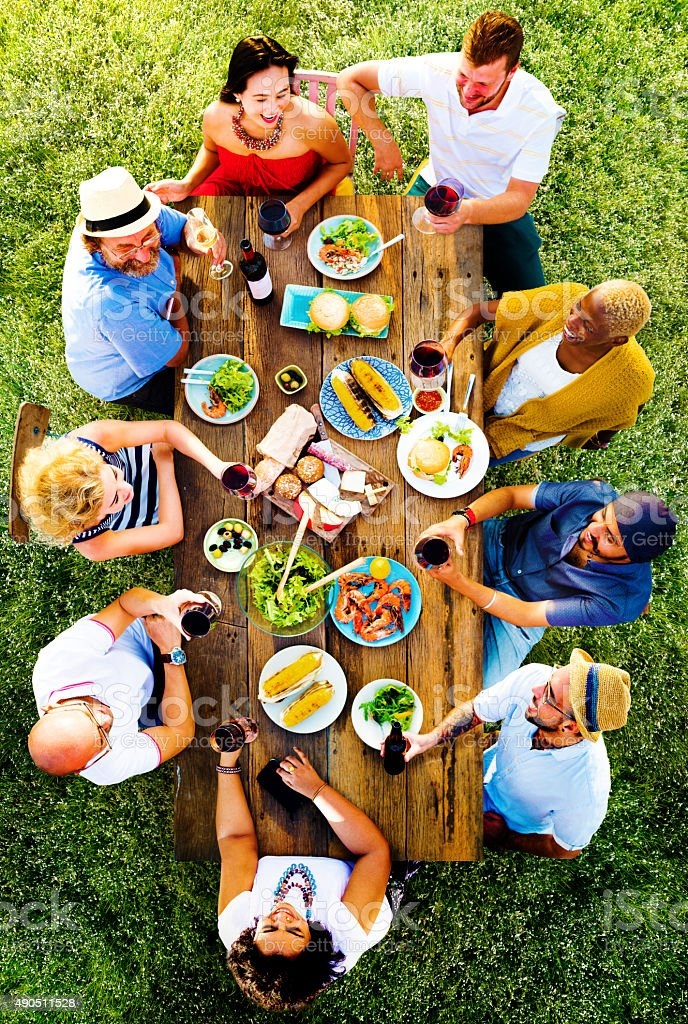 Friends Friendship Outdoor Dining People Concept stock photo