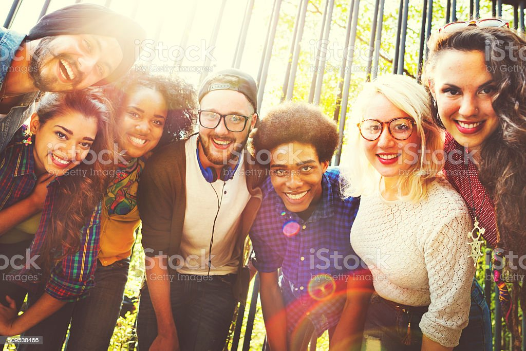 Friends Friendship Walking Park Togetherness Fun Concept stock photo
