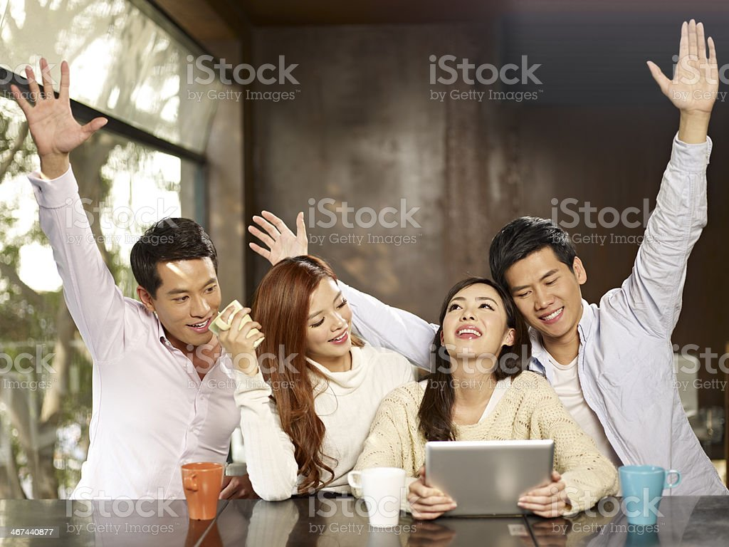friends gathering in cafe royalty-free stock photo