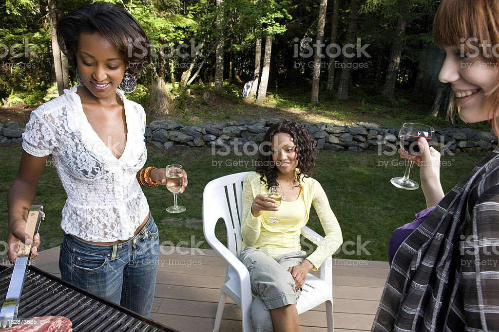 Friends Get Together At Barbecue stock photo