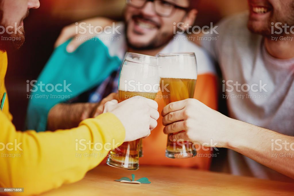 Friends Get Together for Craft Beer stock photo