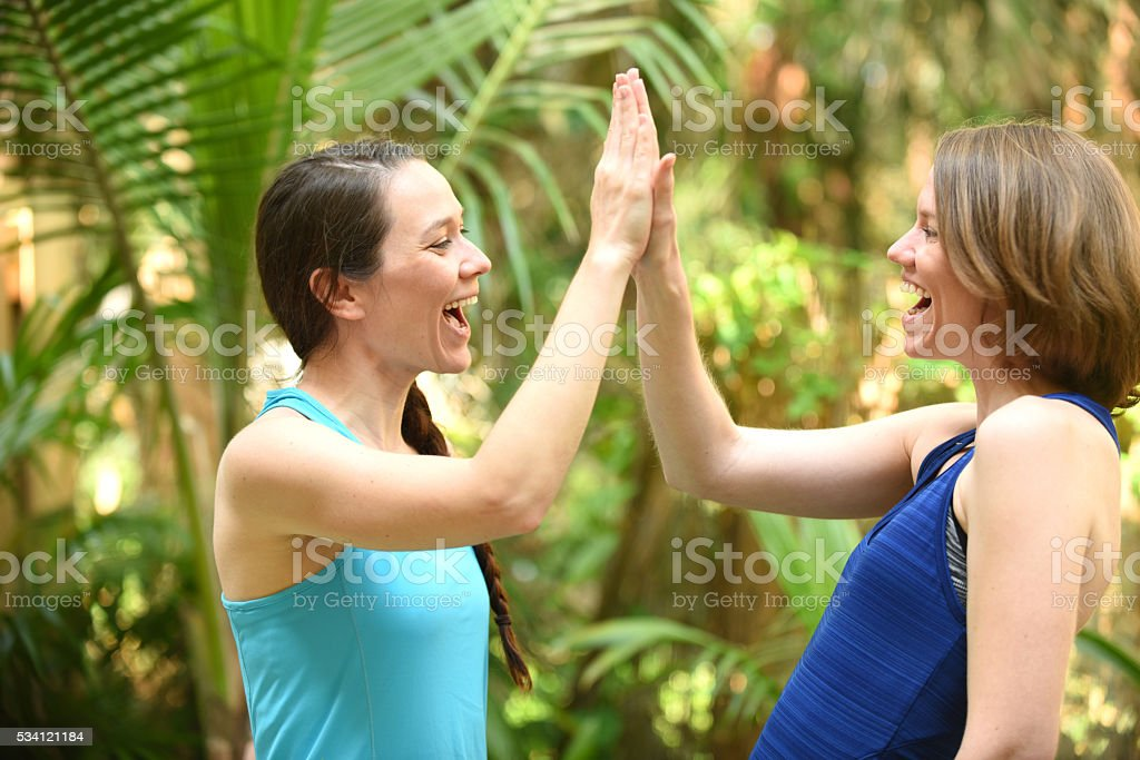 Friends giving a high five stock photo