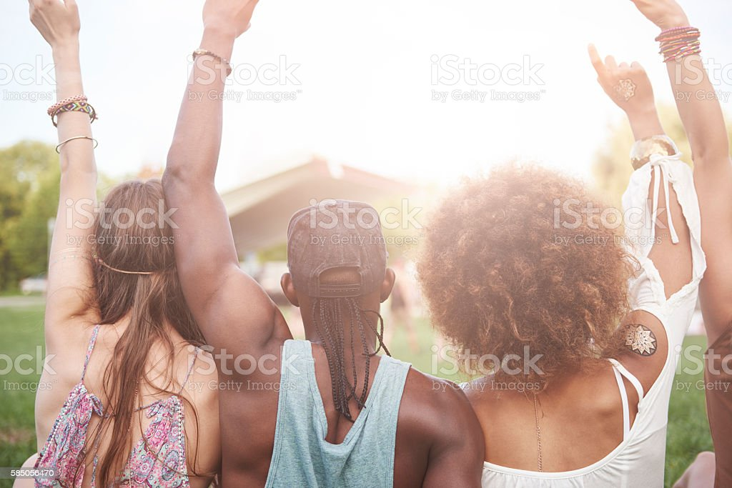 Friends going on a festival stock photo