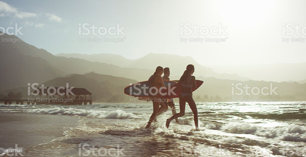Friends going Surfing stock photo