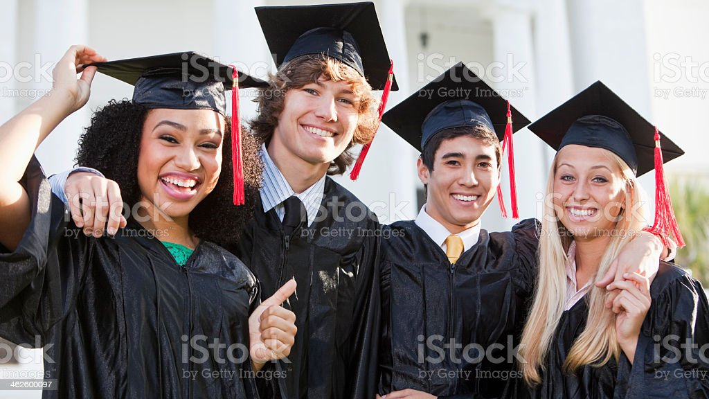 Friends graduating stock photo