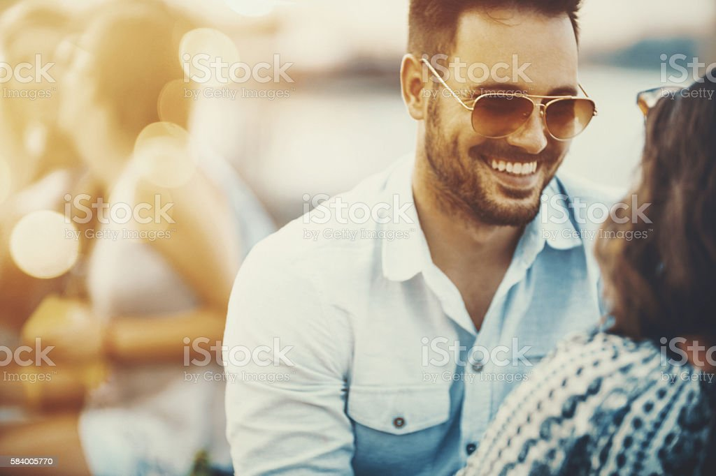 Friends hanging out. stock photo