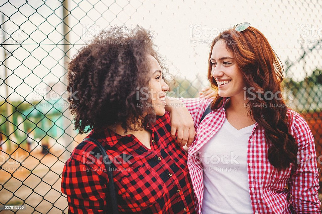 Friends hanging out stock photo
