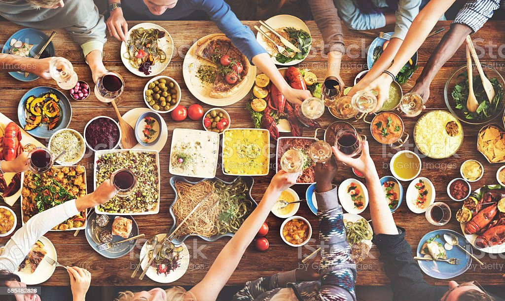 Friends Happiness Enjoying Dinning Eating Concept stock photo