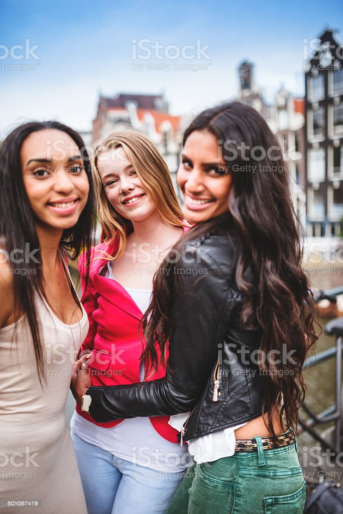 friends happiness in amsterdam stock photo
