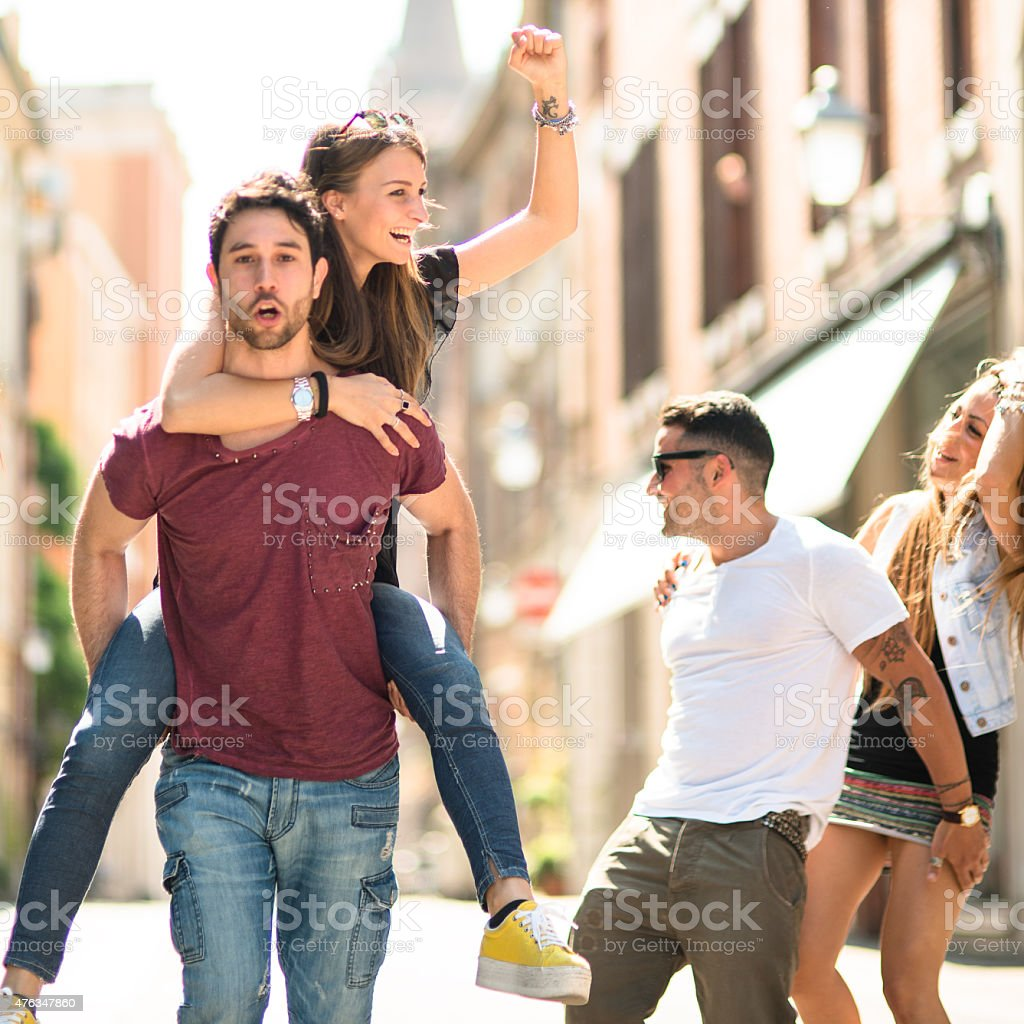 friends have a fun on the city stock photo