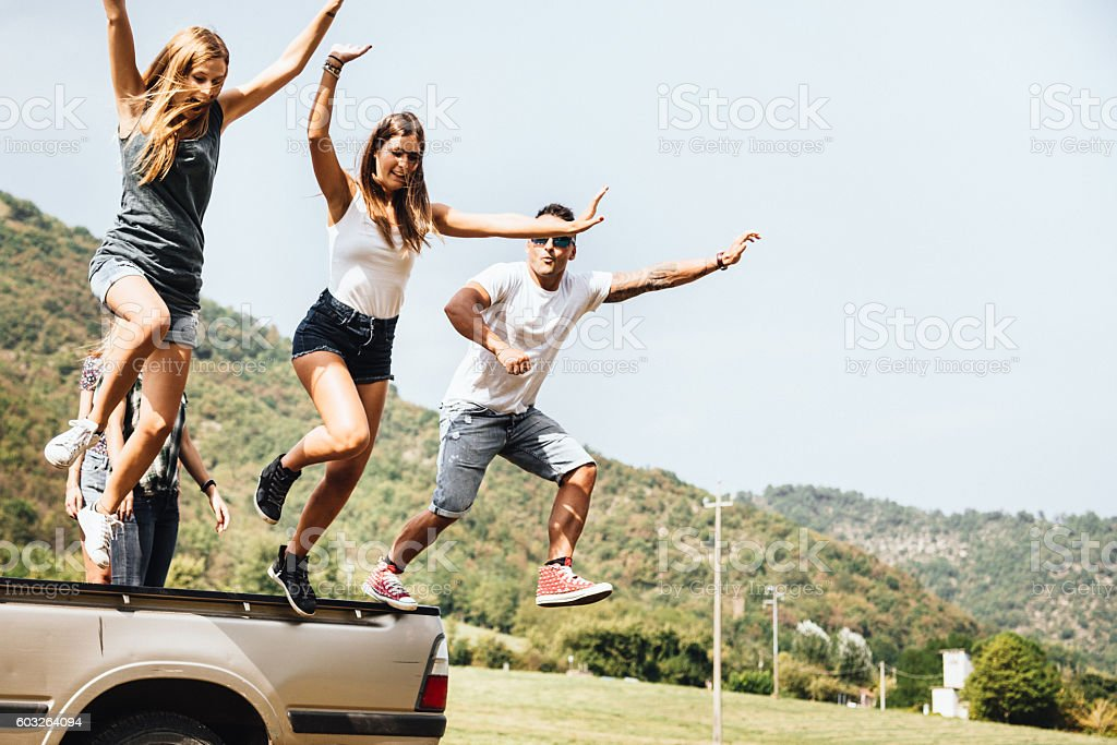 friends have fun on the van togetherness stock photo