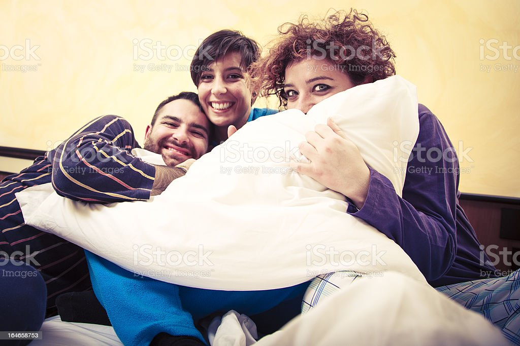 Friends have Pajama party stock photo