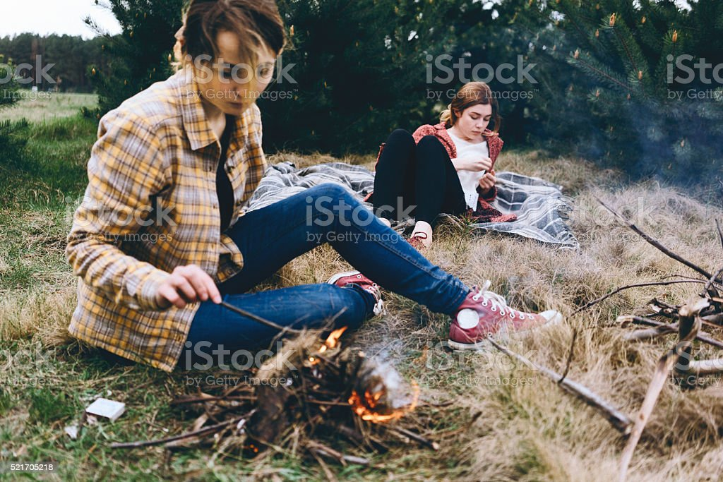 Friends have picnic stock photo