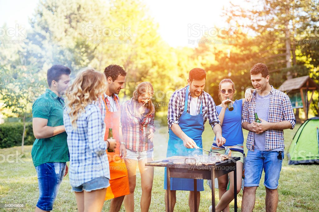 Friends having a barbecue party in nature stock photo