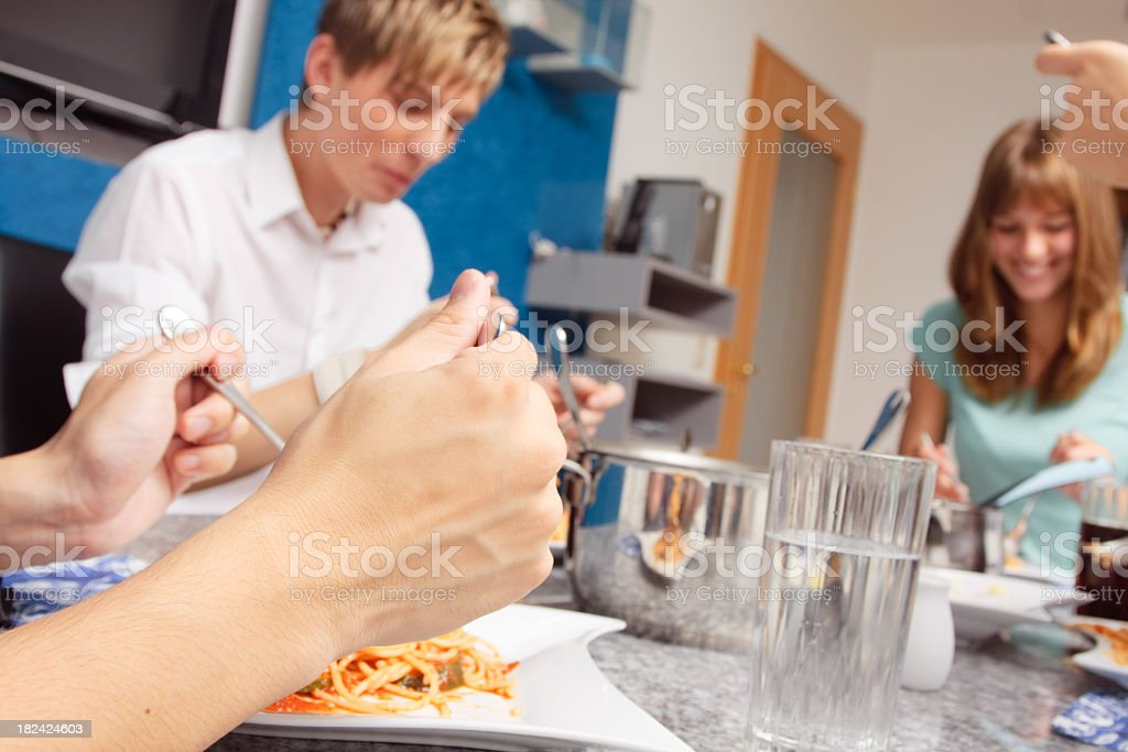 friends having a small party at home royalty-free stock photo