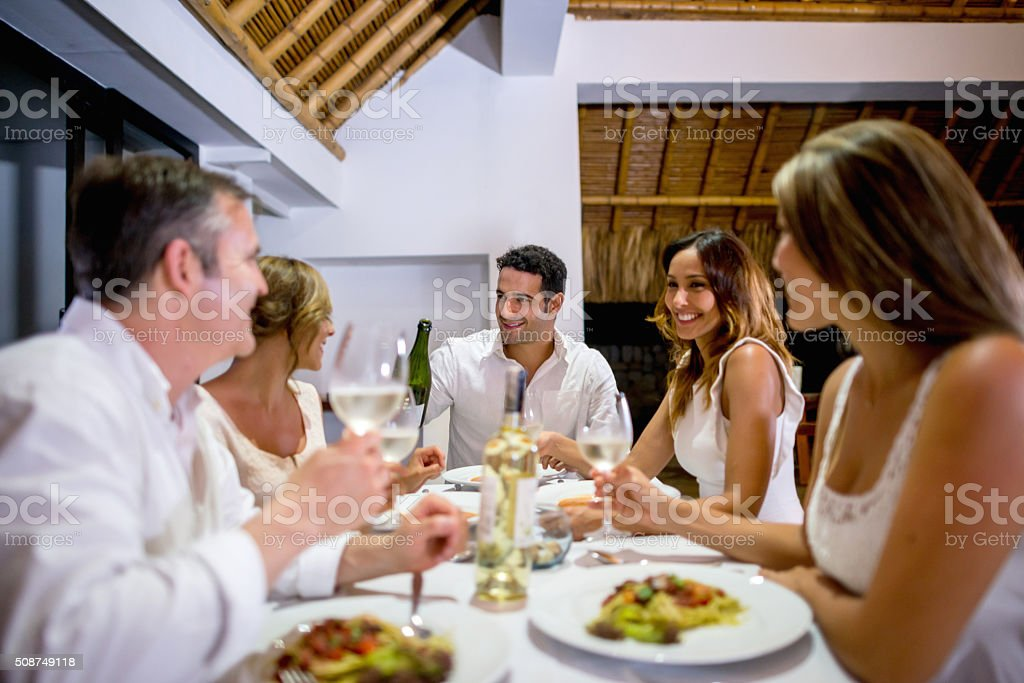 Friends having dinner and making a toast stock photo