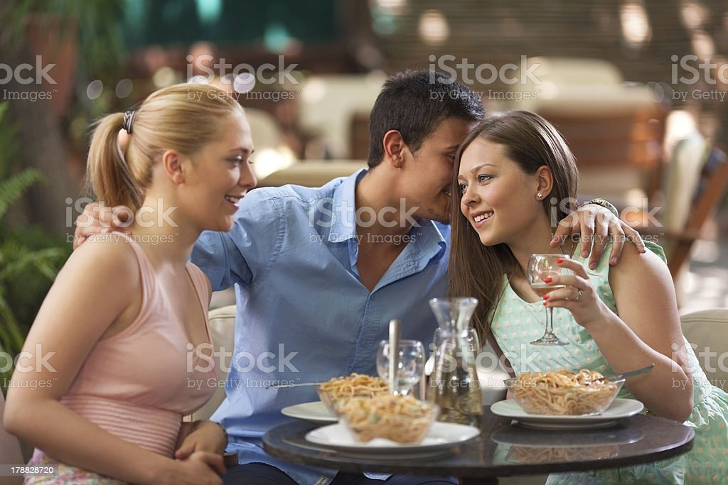 Friends having dinner royalty-free stock photo