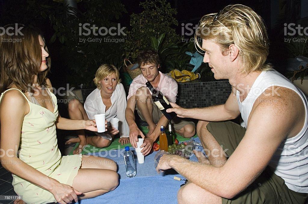 Friends having drinks royalty-free stock photo