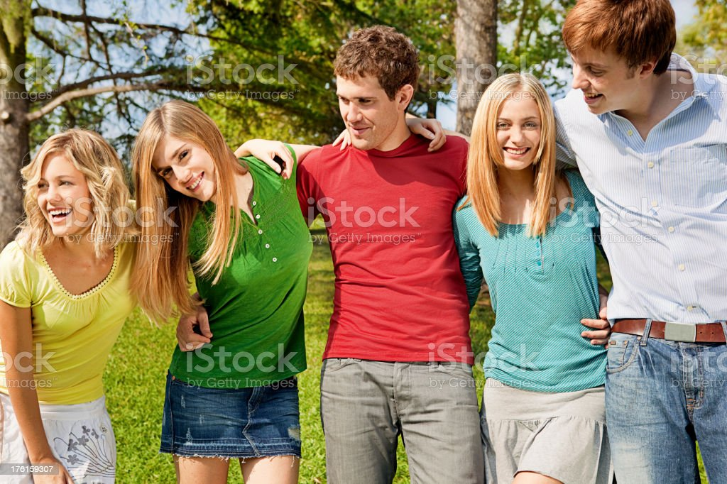 Friends having fun in the park royalty-free stock photo