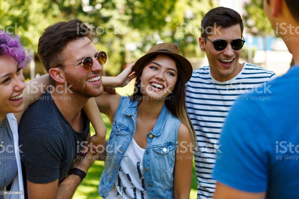 Friends having fun outdoor stock photo