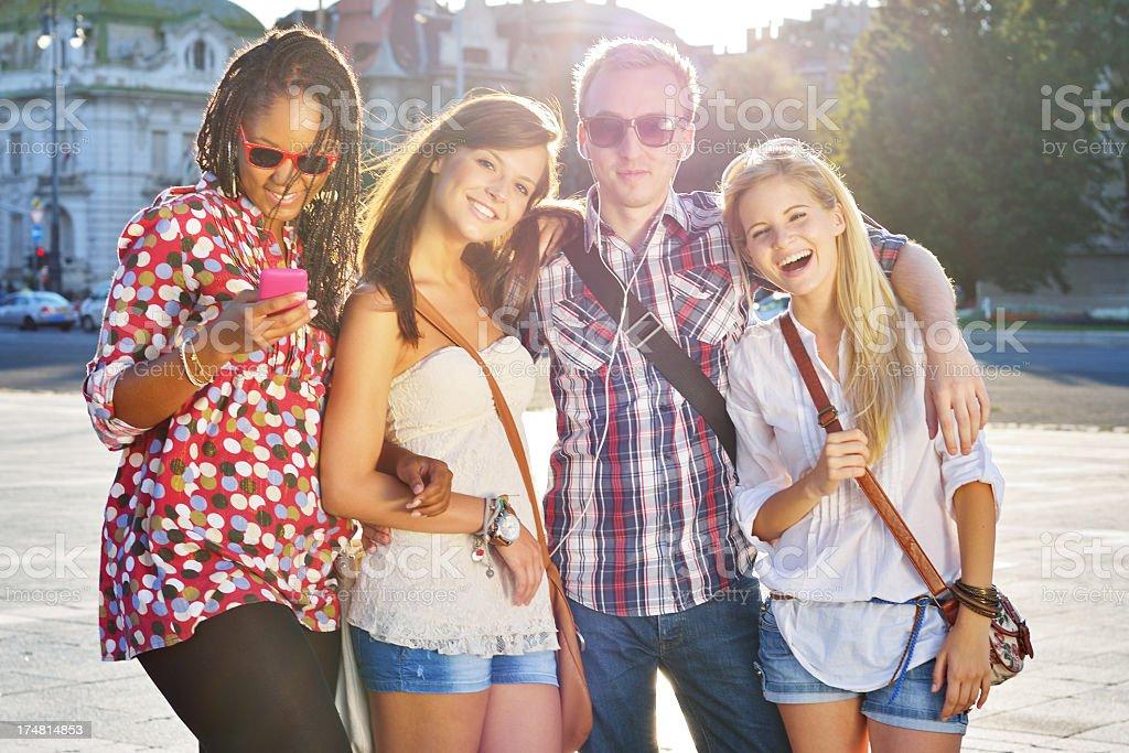 Friends having fun outdoors royalty-free stock photo