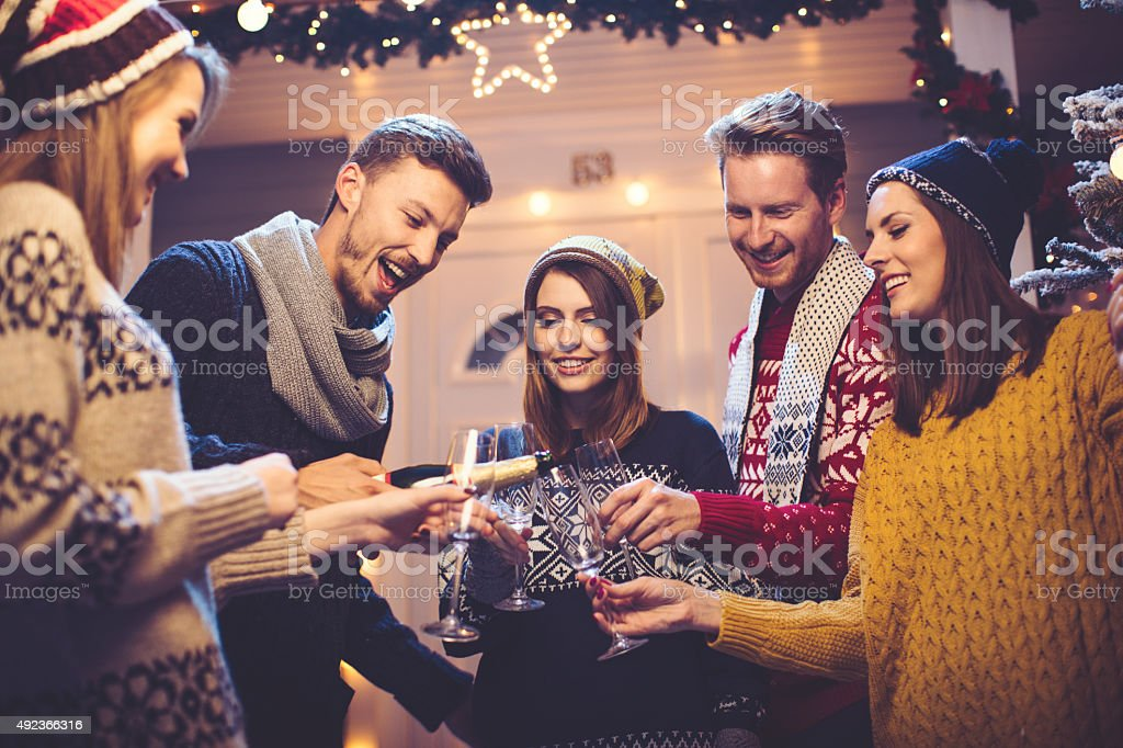 Friends having fun outdoors. stock photo