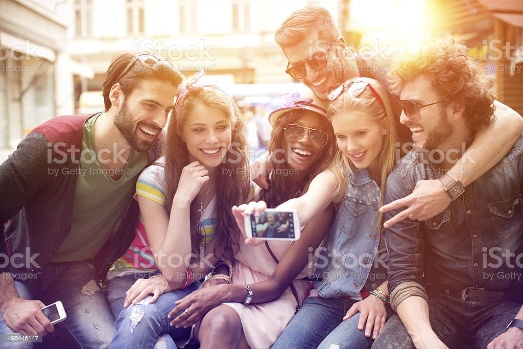 Friends having fun outdoors. royalty-free stock photo
