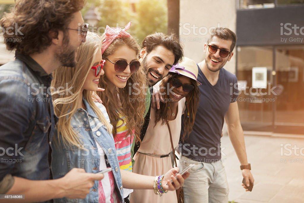 Friends having fun outdoors. royalty-free stock photo