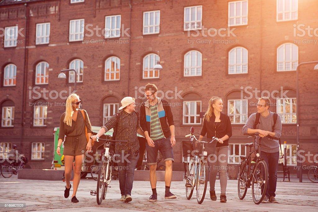 Friends having fun outdoors. stock photo