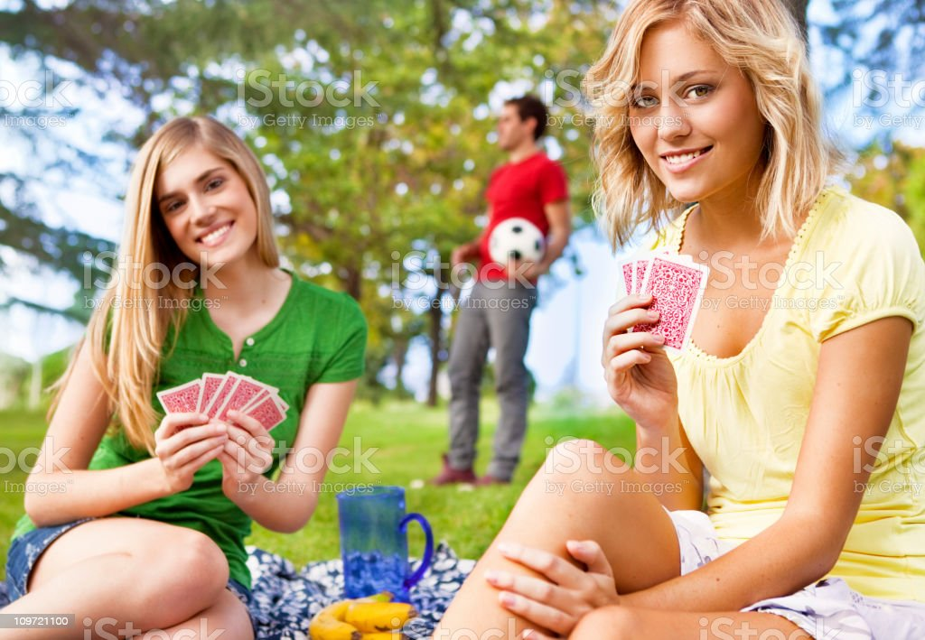 Friends having funa at the park royalty-free stock photo