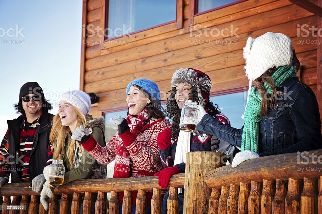 Friends Having Good Times After Skiing stock photo