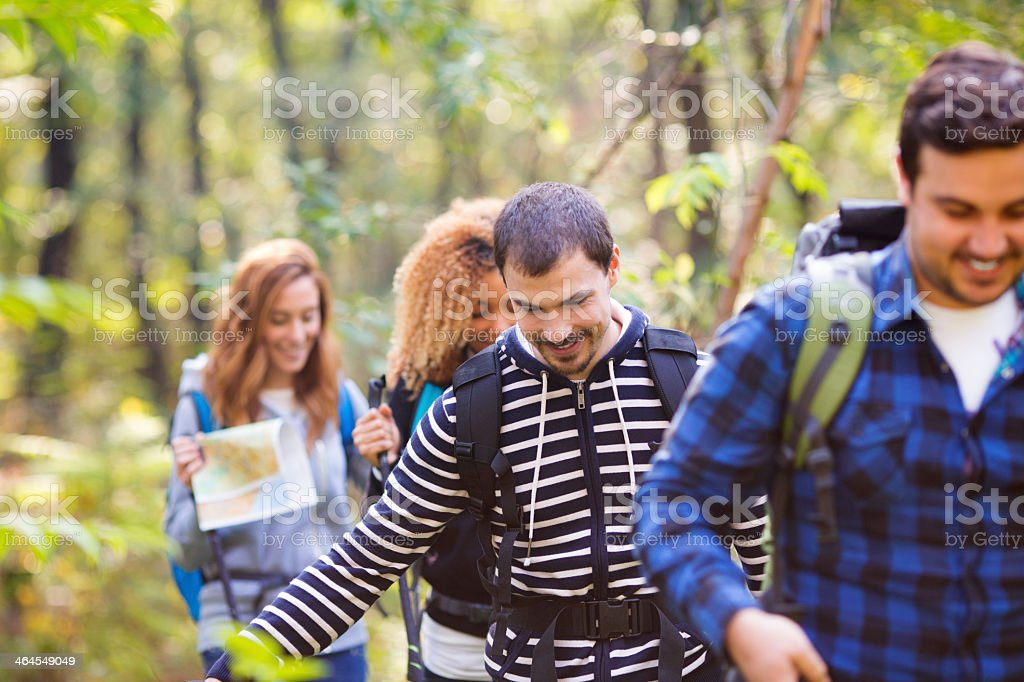 Friends hiking in a forest. royalty-free stock photo