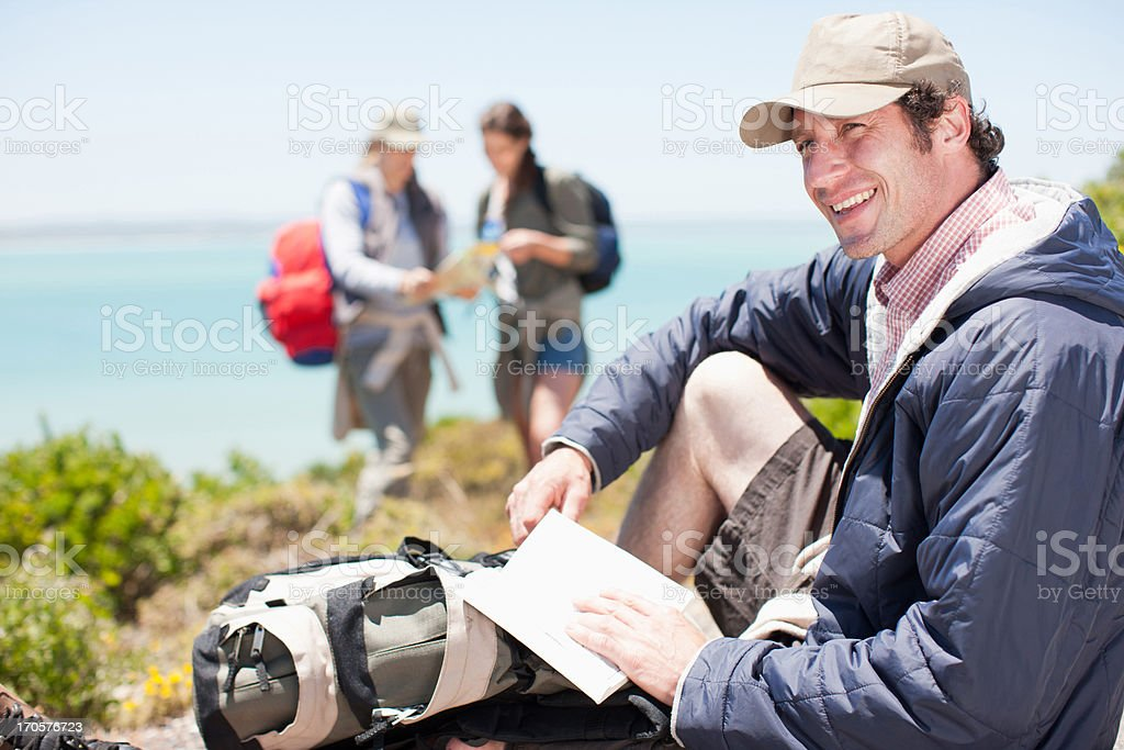 Friends hiking royalty-free stock photo