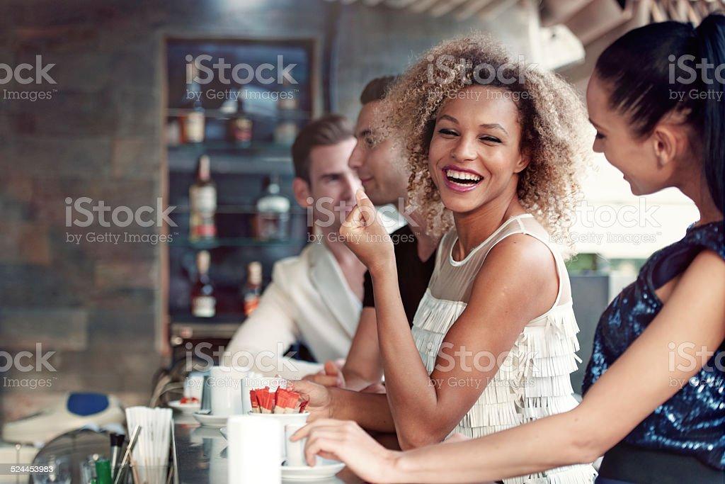 Friends in a club stock photo