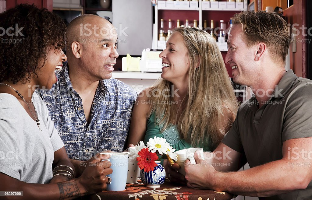 Friends in a Coffee House stock photo