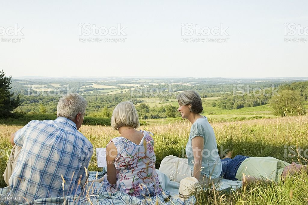 Friends in a field royalty-free stock photo