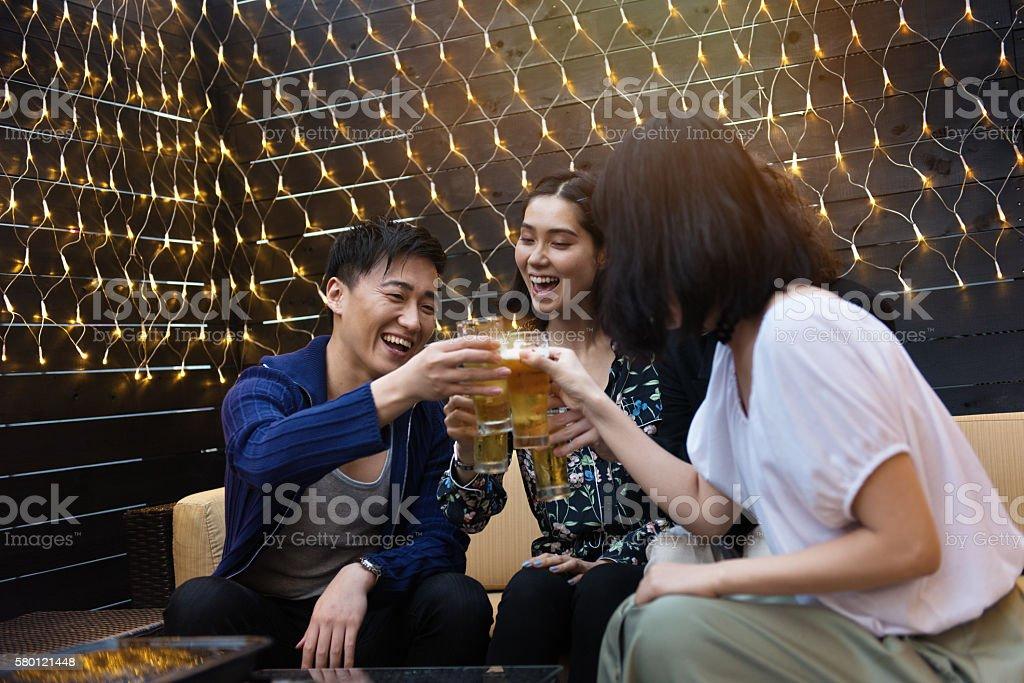 Friends in a nightclub stock photo