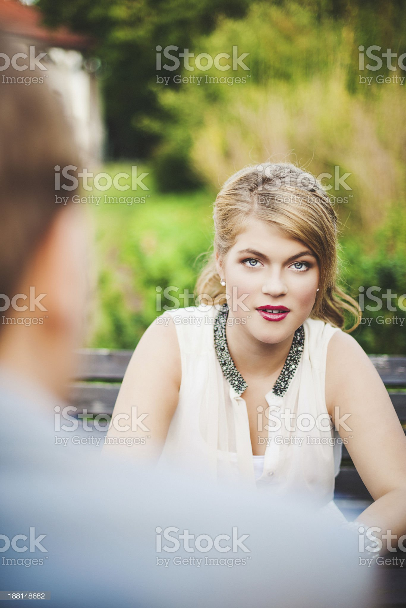 Friends in a park summertime royalty-free stock photo