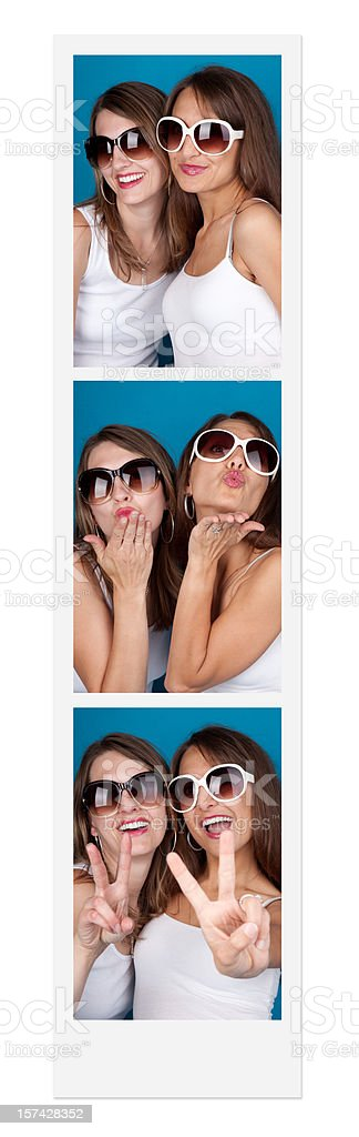 Friends In A Photo Booth royalty-free stock photo