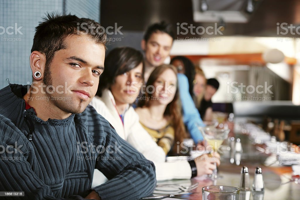 Friends in a resto-bar royalty-free stock photo